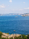 Bosphorus istanbul turkey view on in sunny day through Royalty Free Stock Images
