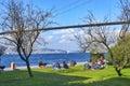 Bosphorus. Uskudar Kuzguncuk families who seaside picnic.