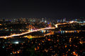 Bosporus bridge istanbul at night Royalty Free Stock Photography