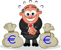 Boss cartoon with money bags man looking greedily at a pair of Royalty Free Stock Photo