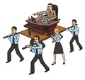 Boss commands a staff of office workers Stock Photo