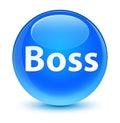 Boss glassy cyan blue round button