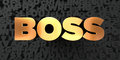 Boss - Gold text on black background - 3D rendered royalty free stock picture