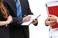 Boss and his new trainee with documents isolated background Royalty Free Stock Photos