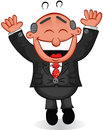 Boss man happy cartoon and jumping Stock Photos