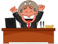 Boss man happy cartoon and laughing Royalty Free Stock Image