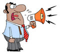 Boss man screaming into megaphone Stock Photography