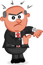 Boss man showing the time cartoon angry Royalty Free Stock Photography