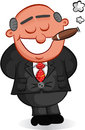 Boss man smoking cigar cartoon happy and Stock Image
