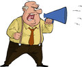 Boss with megaphone the yells into a Royalty Free Stock Photography