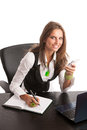 The boss preety business secretarry woman working in office is isolated over white background Stock Image