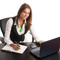 The boss preety business secretarry woman working in office is isolated over white background Stock Photos
