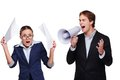 Boss screaming with megaphone at his assistant Royalty Free Stock Photo