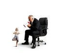 Boss screaming at small meditation businesswoman angry big isolated on white background Royalty Free Stock Image