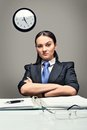 Boss serious business woman looking straight ahead Royalty Free Stock Image