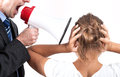 Boss yelling at his employee businessman is through a megaphone victim is also Royalty Free Stock Photo