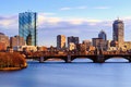 Boston back bay late afternoon skyline s and downtown shot in on a winter evenint Royalty Free Stock Photo