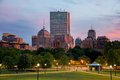 Boston Back Bay Skyline at Sunset from the Boston Common Hill Royalty Free Stock Photo