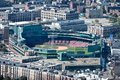 Boston baseball stadium neighborhood aerial view of ballpark in and surrounding all logos removed Stock Photos