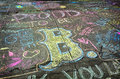 Boston bombing sidewalk in after bombings with chalk written statements Stock Images