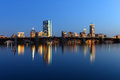 Boston Charles River and Back Bay skyline at night Royalty Free Stock Photo