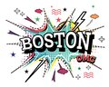 Boston Comic Text in Pop Art Style Isolated on White Background