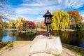 Boston Common in fall Royalty Free Stock Photo