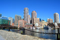 Boston downtown skyline along harbor Stock Image