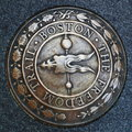 Boston freedom trail emblem of the massachusetts united states Stock Images