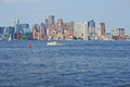Boston harbor the in the daytime with a commercial boat Royalty Free Stock Image
