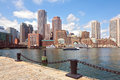 Boston Harbor and Financial District. Boston, Massachusetts, USA Royalty Free Stock Photo