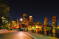 Boston harborwalk at night and cityscape Royalty Free Stock Photo