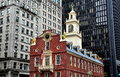 Boston ma historic old state house the site of the notorious massacre in at the corner of and washington streets is a landmark Stock Photo