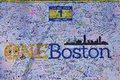Boston marathon bombing memorial makeshif for victims at copley square city massachusetts Royalty Free Stock Photo