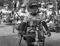Boston marathon the wheelchair division of the heading from hopkinton to in massachusetts usa on april Stock Photo