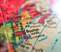 Boston Massachusetts USA  focus macro shot on globe map for travel blogs, social media, web banners and backgrounds. Royalty Free Stock Photo