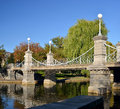 Boston public garden bridge in early fall Royalty Free Stock Images