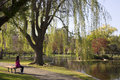 Boston Public Garden with first signs of spring Royalty Free Stock Photo