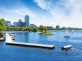 Boston sailboats Charles River at The Esplanade Royalty Free Stock Photo