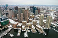 Boston Skyline from Air Stock Photo