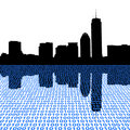 Boston skyline with binary Royalty Free Stock Image