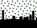 Boston skyline with dollars Royalty Free Stock Photo