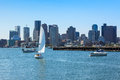 Boston skyline from East Boston, Massachusetts Royalty Free Stock Images