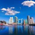 Boston skyline from Fan Pier sunlight Massachusetts Royalty Free Stock Photo