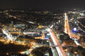 Boston skyline at night massachusetts usa including fenway park and interstate highway i turnpike from top of prudential center Stock Photo