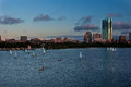 Boston Skyline with Sailboats Stock Images