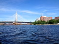 Boston summer skyline and bridge river view during a warm sunnys day in the Stock Image