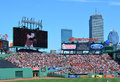 Boston view of the center field bleachers and back bay skyline at a major league baseball game at fenway park Royalty Free Stock Photography