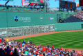 Boston view of the green monster during a major league baseball game at fenway park Stock Photography