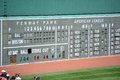 Boston view of the green monster scoreboard during a major league baseball game at fenway park Royalty Free Stock Image